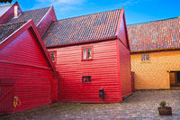 Historic colorful  buildings in Bryggen