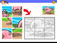 jigsaw puzzles with pig farm animal character