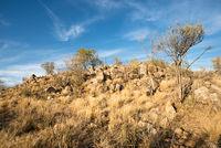 Rocky landscape of Namibian Kunene Region during winter sunset