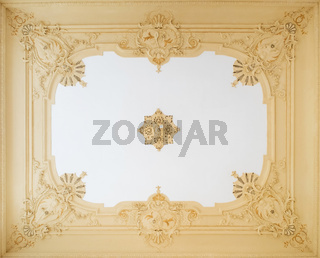 beautiful stucco ceiling , ornate plastering decoration in apartment