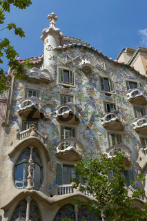 Casa Batllo is an Modernism Masterpiece by Architect Antoni Gaudi at Eixample District in Barcelona, Catalonia, Spain