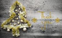Tinsel Christmas Tree, Calligraphy, Thank You
