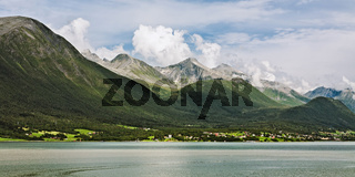 Panoramic view of the mountains along the Romsdalsfjorden in Norway