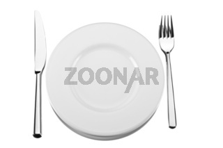 fork, knife and a spoon on a white plate