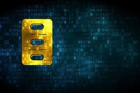 Medicine concept: Pills Blister on digital background