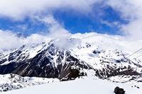 Caucasus mountains under fluffy snow
