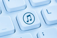 Musik hören downloaden Download runterladen herunterladen Internet blau Computer Tastatur