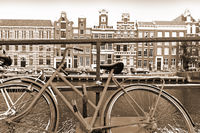 Bike Parked on an Embankment in Amsterdam