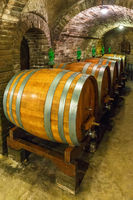Wine cellar with wine barrels