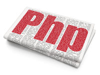 Software concept: Php on Newspaper background