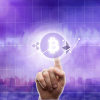Icons bitcoin ripple, ethereum on an ultra purple background of the city. The hand touches the bitcoin icon