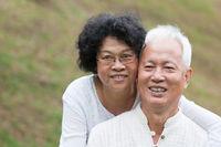 Elderly Asian couple relaxing outdoor.