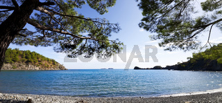 Calm bay and pebbly deserted beach with shadow from pine trees at warm sun summer day