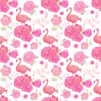 seamless  pattern with flowers and flamingo
