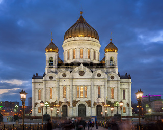 Cathedral of Christ the Saviour in the Evening, Moscow, Russia