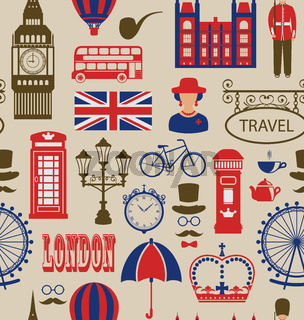 Old Seamless Texture of Silhouettes Symbols of Great Britain,