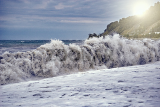 Sea coast at stormy time.