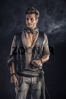 Good Looking Young Man in Pirate Fashion Outfit