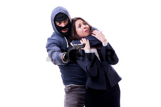 Businesswoman is kidnapped by the gunman