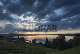 Blick über den Bodensee, am Horizont die Halbinsel Mettnau und die Hegauberge