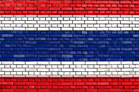 flag of Thailand painted on brick wall