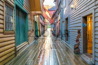 Bryggen old wooden buildings in Bergen