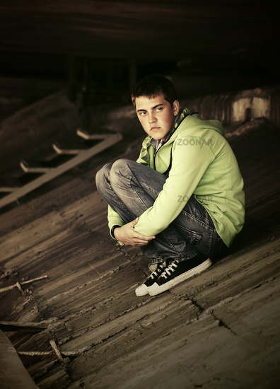 Sad young man in depression outdoor
