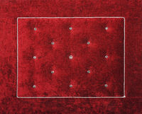 Red soft velvet bed headboard with rhinestones