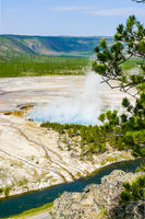 Excelsior Geyser Yellowstone Park aerial view