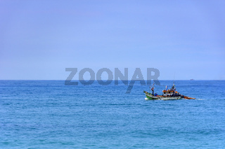 Fishing boat sailing
