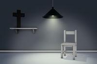 christliches kreuz und stuhl - 3d rendering