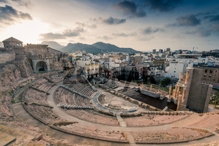 Roman Amphitheater in Cartagena, Spain at sunset