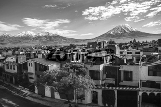 City of Arequipa with its iconic active volcanos of Misti and Chachani, Peru