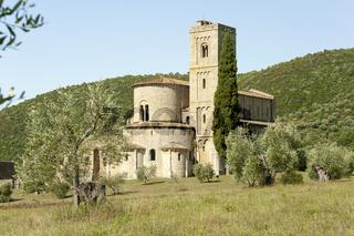 Abtei San Antonio in der Nähe von Montalcino, Castelnuovo dell'Abate, Toskana, Italien