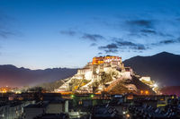 overlook of the potala palace in nightfall
