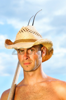 Closeup of man with hat
