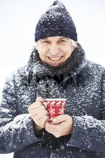 Man hands red patterned cup cap