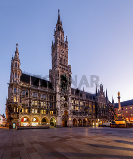 New Town Hall and Marienplatz in Munich at Dawn, Bavaria, Germany