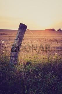 Beautiful landscape of countryside. Meadow or field with fence. Photo with vintage mood