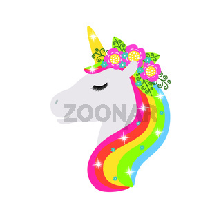 Unicorn vector icon isolated on white. Head portrait horse sticker, patch badge. Cute magic cartoon fantasy cute animal. Rainbow hair. Design for children