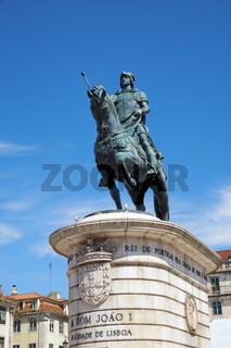 Statue of King Joao I on the Praca da Figueira . Lisbon. Portugal