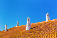 Orange roof tiles with four white chimneys