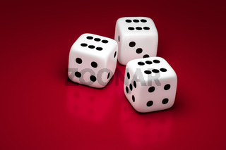 three white dice on a red background
