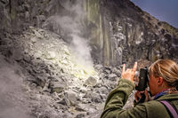 Photographing crater of Gunung Sibayak volcano