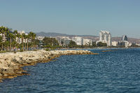 View of Limassol in Cyprus and its beach area during summer