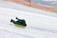 Snow tubing on ski resort
