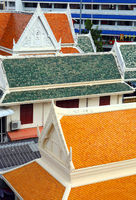 Multicolored roofs of buildings in Bangkok