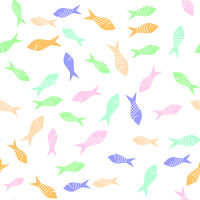 Colored Fish Silhouettes Seamless Pattern