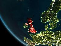 Satellite view of United Kingdom at night