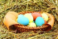 Basket of easter eggs on hay